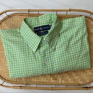 Ralph Lauren Green and White Checked Guy's Shirt